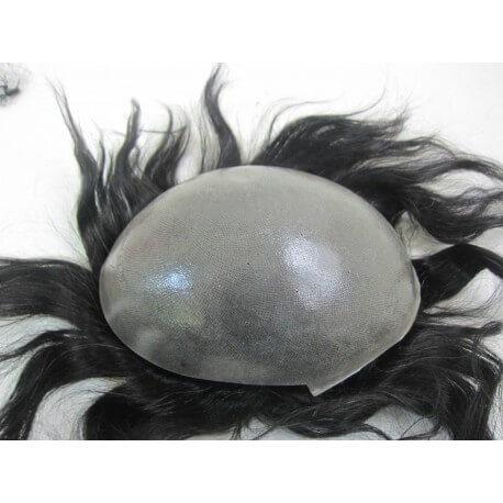 Protesi capelli con pellicola medio spessore e  capelli vergini -