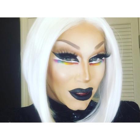 Parrucca bianca Mod. Fannie, colorata drag queen -