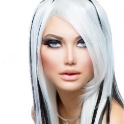 Modello Benedict sintetica colorata in bianco e nero -