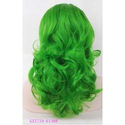 Parrucca verde riccia  Donna sintetica -