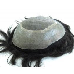 Protesi capelli con anello di poliuretano e capelli vergini -