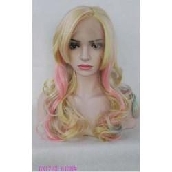 Colore giallo e rosa. Il modello con base in LACE A MACCHINA taglia unica M , realizzata esclusivamente con capelli si