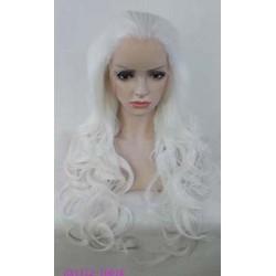 Colore bianco neve . Il modello con base in LACE A MACCHINA taglia unica M , realizzata esclusivamente con capelli sin