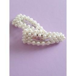 Fermaglio alla moda in materiale metallico , lunghezza circa 9 cm, con perline, prodotto di ottima fattura, realizzato a