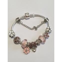 Bracciale donna sterling ( argento laminato), 925 marchiato tema fiorellini Rosa, completo di charms come in foto molto