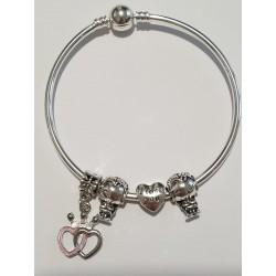 Braccialetto DONNA in argento semi rigido, 925 laminato alta qualità tema amanti , il bracciale è di 18 cm. Resite all'